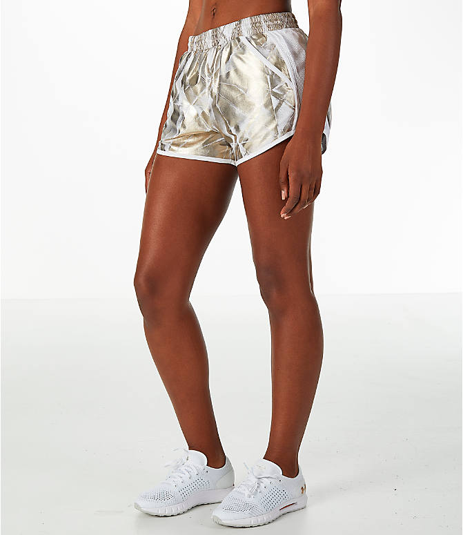 Front Three Quarter view of Women's Under Armour Fly-By Metallic Printed Running Shorts
