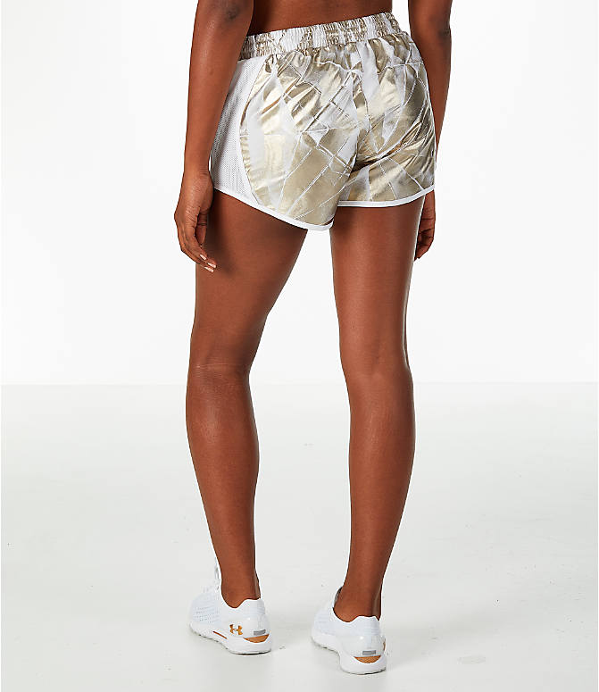 Back Left view of Women's Under Armour Fly-By Metallic Printed Running Shorts