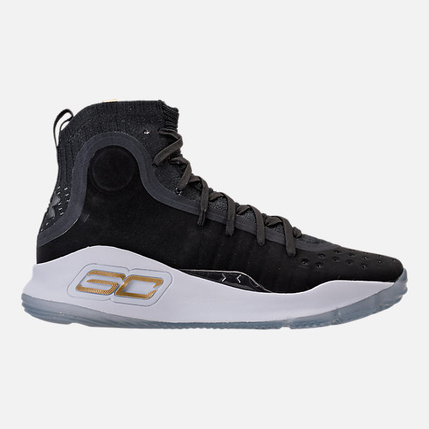 Right view of Men's Under Armour Curry 4 Basketball Shoes in Black/White/Black