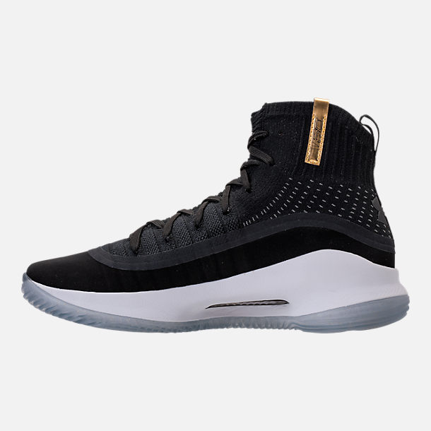 Left view of Men's Under Armour Curry 4 Basketball Shoes in Black/White/Black