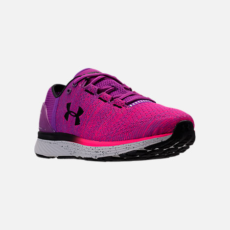 Three Quarter view of Women's Under Armour Charged Bandit 3 Running Shoes in Purple Rave/Penta Pink/Black