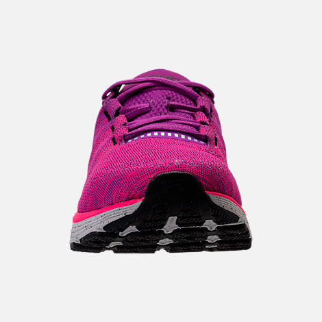Front view of Women's Under Armour Charged Bandit 3 Running Shoes in Purple Rave/Penta Pink/Black