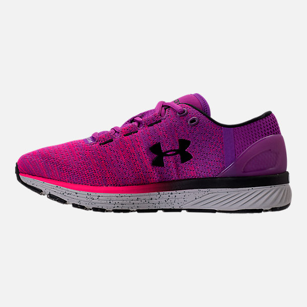 Left view of Women's Under Armour Charged Bandit 3 Running Shoes in Purple Rave/Penta Pink/Black