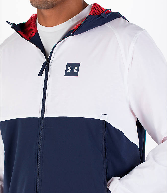 Detail 1 view of Men's Under Armour Fishtail Wind Jacket in White/Midnight Navy