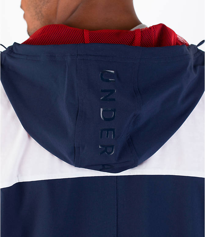 Detail 2 view of Men's Under Armour Fishtail Wind Jacket in White/Midnight Navy