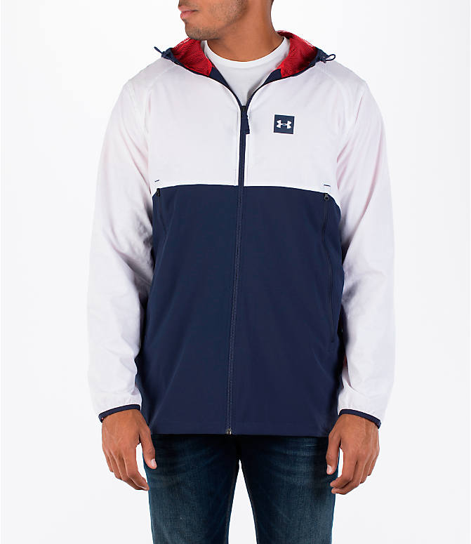 Front view of Men's Under Armour Fishtail Wind Jacket in White/Midnight Navy