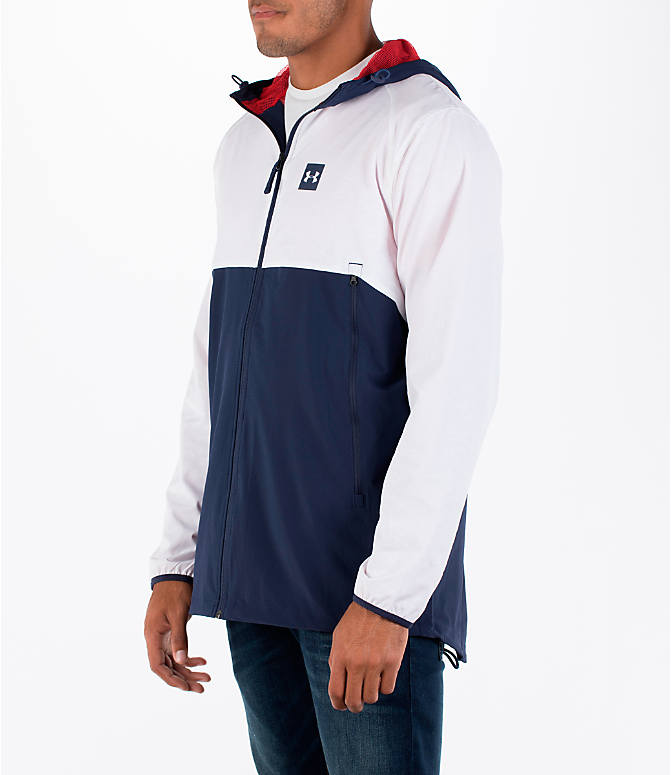 Front Three Quarter view of Men's Under Armour Fishtail Wind Jacket in White/Midnight Navy