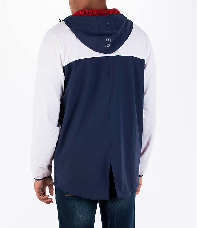 Back Left view of Men's Under Armour Fishtail Wind Jacket in White/Midnight Navy