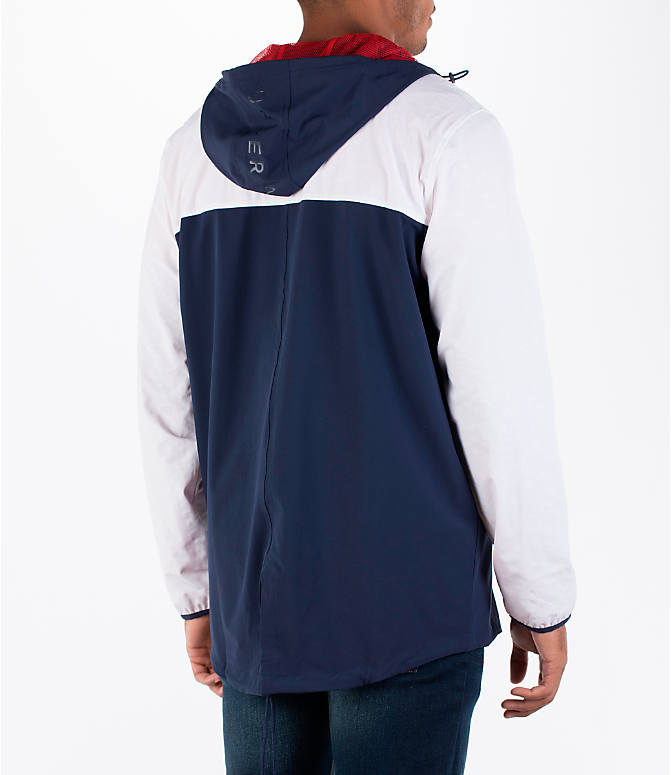 Back Right view of Men's Under Armour Fishtail Wind Jacket in White/Midnight Navy