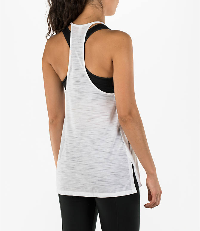 Back Right view of Women's Under Armour Threadborne High Neck Tank in White