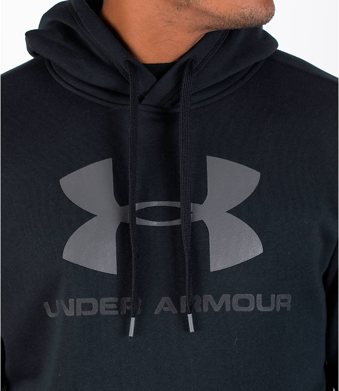 Detail 1 view of Men's Under Armour Rival Graphic Fitted Hoodie in Black