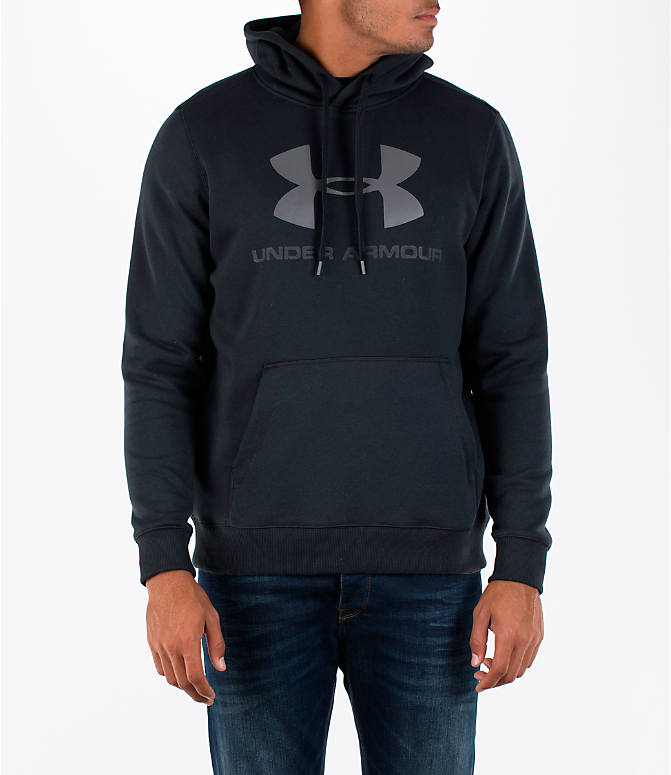 Front view of Men's Under Armour Rival Graphic Fitted Hoodie in Black