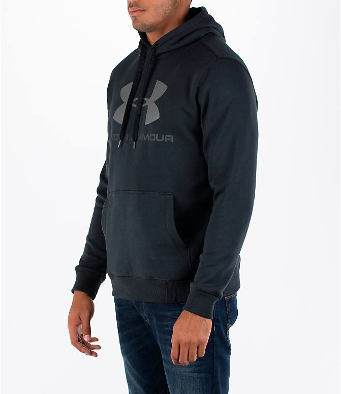 Front Three Quarter view of Men's Under Armour Rival Graphic Fitted Hoodie in Black