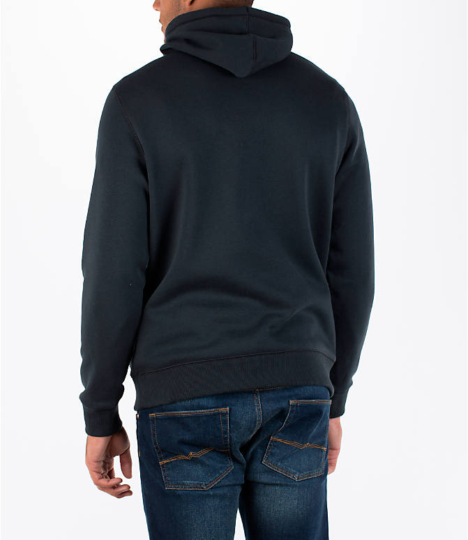 Back Left view of Men's Under Armour Rival Graphic Fitted Hoodie in Black