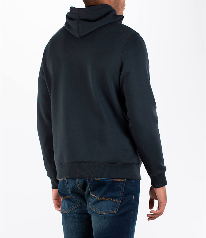 Back Right view of Men's Under Armour Rival Graphic Fitted Hoodie in Black