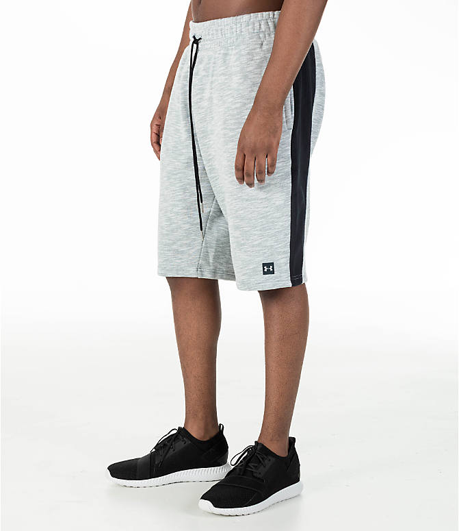 Front Three Quarter view of Men's Under Armour Baseline Fleece Shorts in True Grey Heather/Black