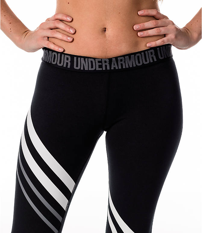 Detail 1 view of Women's Under Armour Favorite Engineered Leggings in Black/White/Grey
