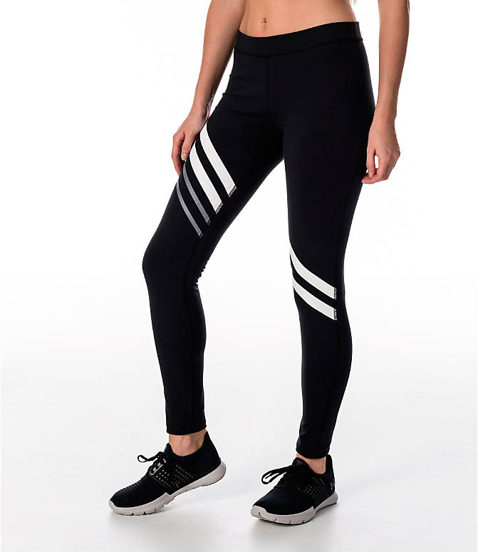 Front Three Quarter view of Women's Under Armour Favorite Engineered Leggings in Black/White/Grey