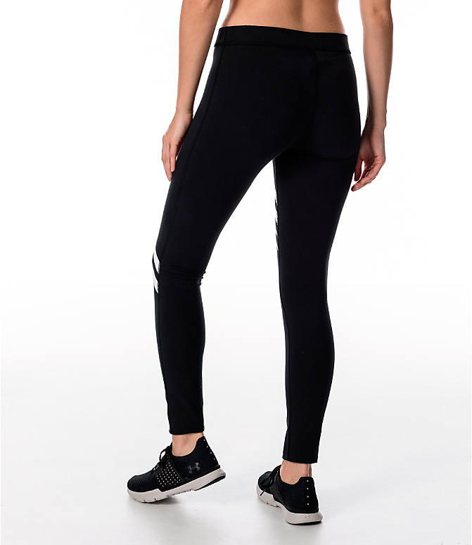 Back Left view of Women's Under Armour Favorite Engineered Leggings in Black/White/Grey