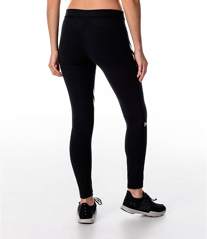 Back Right view of Women's Under Armour Favorite Engineered Leggings in Black/White/Grey
