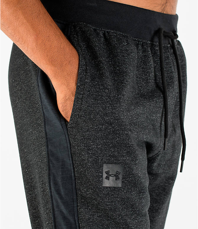 Detail 1 view of Men's Under Armour Sportstyle Stacked Terry Jogger Pants in Black/Black