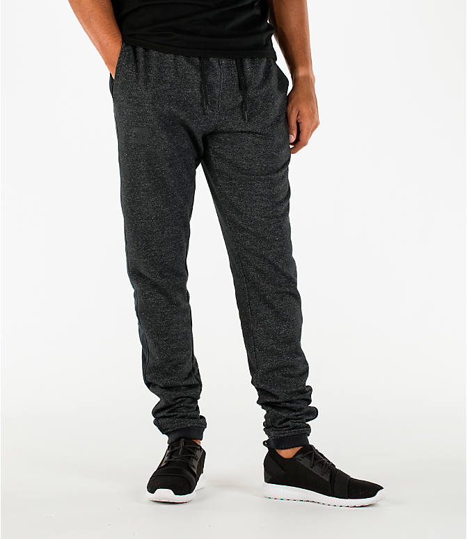 Front view of Men's Under Armour Sportstyle Stacked Terry Jogger Pants in Black/Black