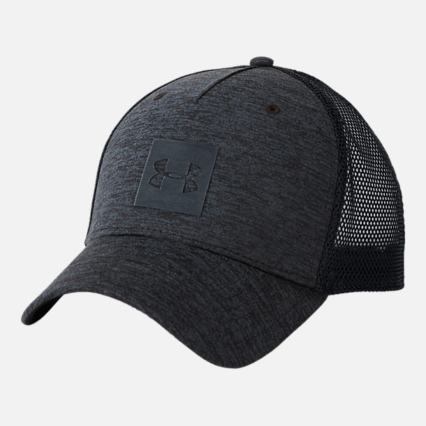 Front view of Men's Under Armour Closer Trucker Snapback Hat in Black/Black