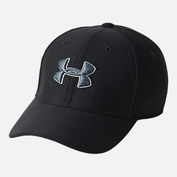 Front view of Boys' Under Armour Blitzing 3.0 Fitted Hat in Black/Grey