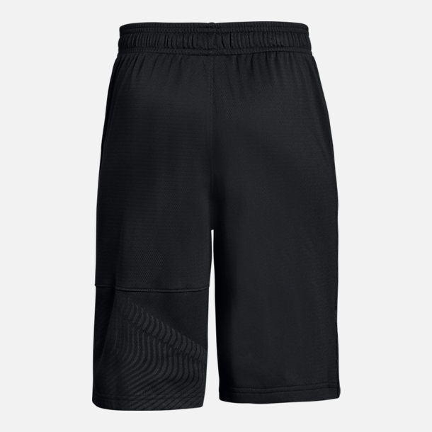 Back view of Boys' Under Armour Stephen Curry SC30 Logo Basketball Shorts in Black/Grey