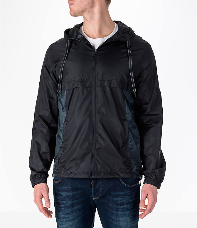 Front view of Men's Under Armour Sportstyle Windbreaker Jacket in Black/Graphite