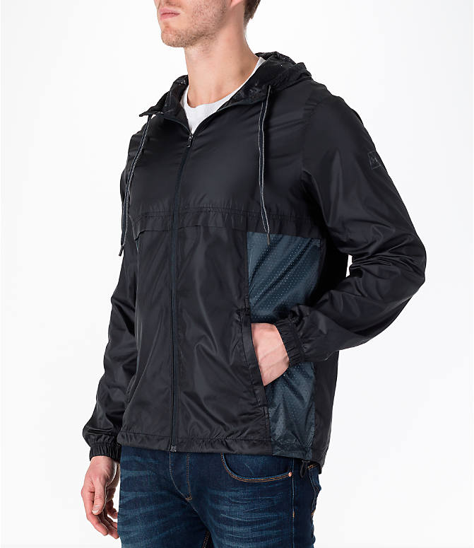 Front Three Quarter view of Men's Under Armour Sportstyle Windbreaker Jacket in Black/Graphite