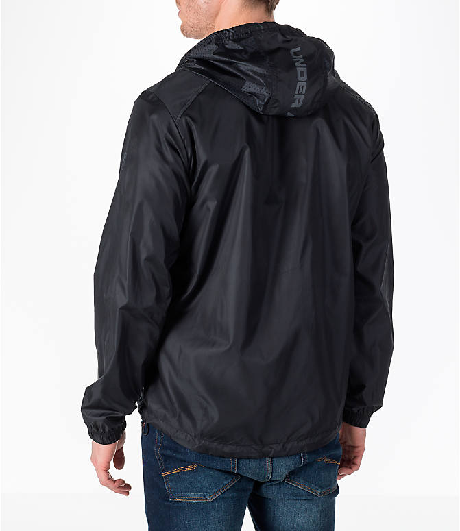 Back Left view of Men's Under Armour Sportstyle Windbreaker Jacket in Black/Graphite