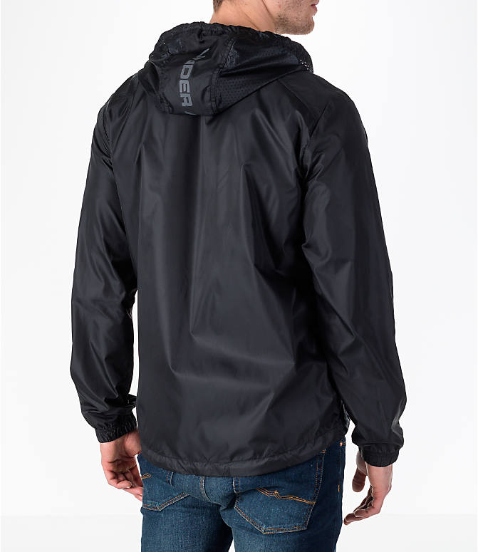 Back Right view of Men's Under Armour Sportstyle Windbreaker Jacket in Black/Graphite