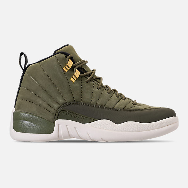 Right view of Men's Air Jordan 12 Retro Basketball Shoes in Olive Canvas/Metallic Gold/Black