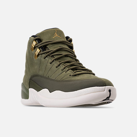 Three Quarter view of Men's Air Jordan 12 Retro Basketball Shoes in Olive Canvas/Metallic Gold/Black