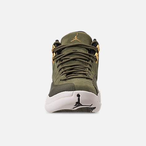 Front view of Men's Air Jordan 12 Retro Basketball Shoes in Olive Canvas/Metallic Gold/Black