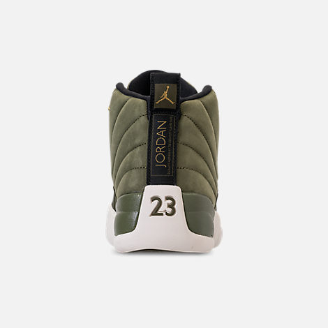 Back view of Men's Air Jordan 12 Retro Basketball Shoes in Olive Canvas/Metallic Gold/Black