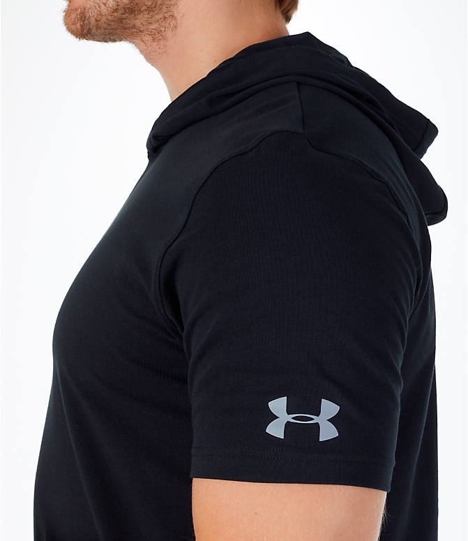 Detail 1 view of Men's Under Armour Baseline Short-Sleeve Hooded T-Shirt in Black/White