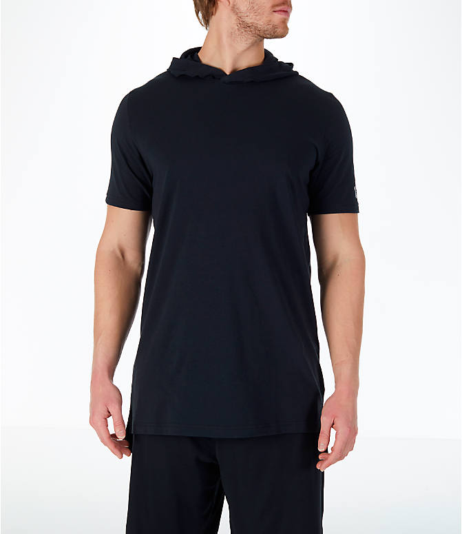 Front view of Men's Under Armour Baseline Short-Sleeve Hooded T-Shirt in Black/White