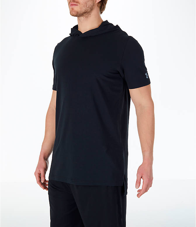 Front Three Quarter view of Men's Under Armour Baseline Short-Sleeve Hooded T-Shirt in Black/White