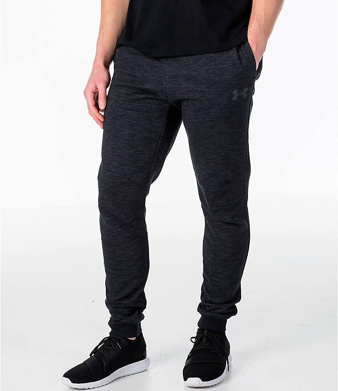 Front view of Men's Under Armour Baseline Tapered Jogger Pants in Black/Black