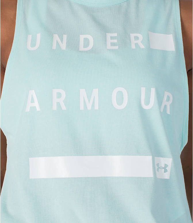 Detail 1 view of Women's Under Armour Linear Wordmark Muscle Tank in Mint/White
