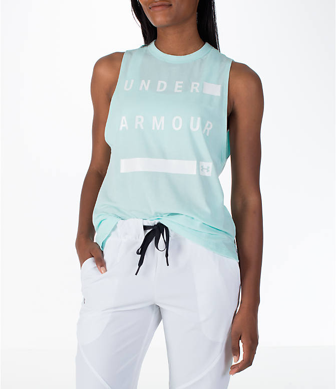 Front view of Women's Under Armour Linear Wordmark Muscle Tank in Mint/White