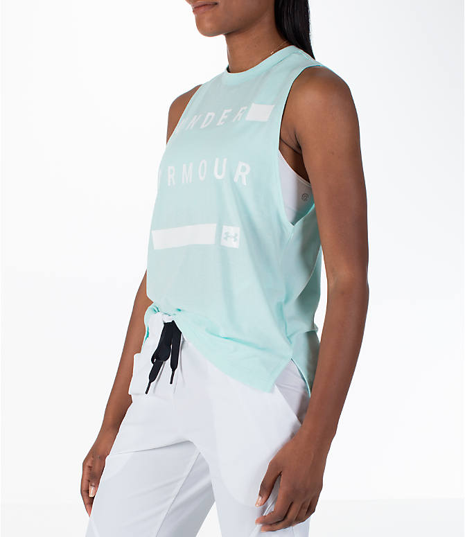 Front Three Quarter view of Women's Under Armour Linear Wordmark Muscle Tank in Mint/White