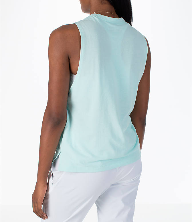 Back Left view of Women's Under Armour Linear Wordmark Muscle Tank in Mint/White
