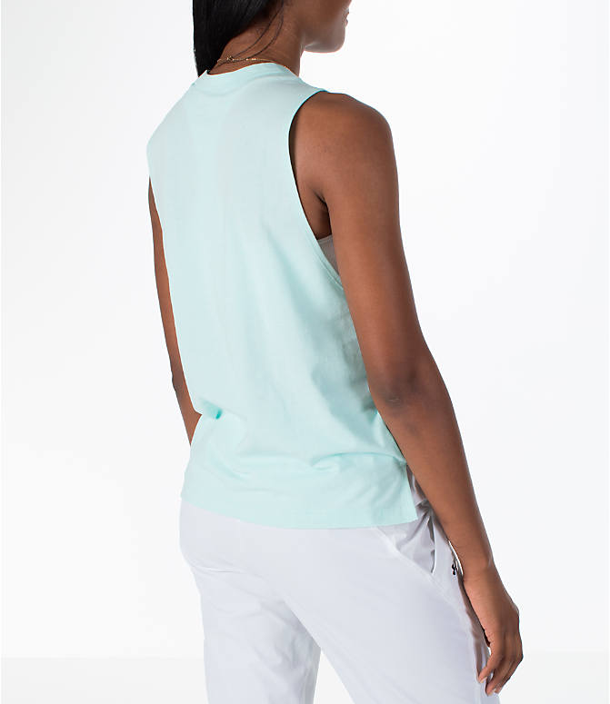Back Right view of Women's Under Armour Linear Wordmark Muscle Tank in Mint/White