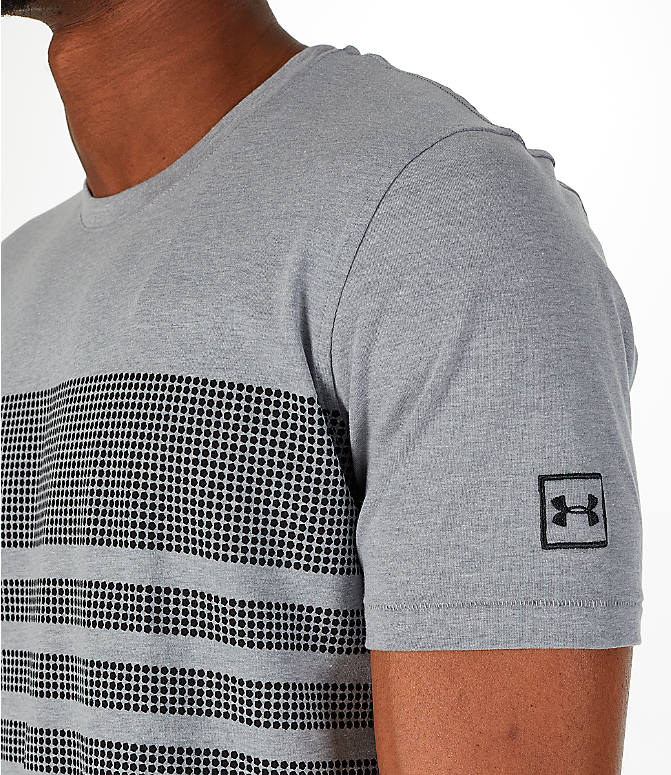 Detail 1 view of Men's Under Armour Sportstyle Stripe T-Shirt in Grey/Dark Grey