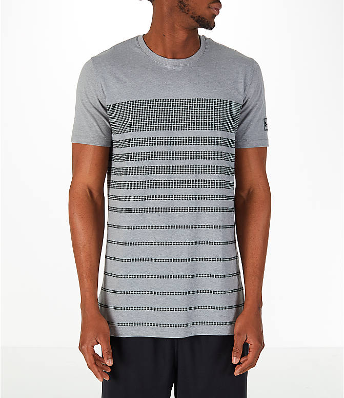 Front view of Men's Under Armour Sportstyle Stripe T-Shirt in Grey/Dark Grey