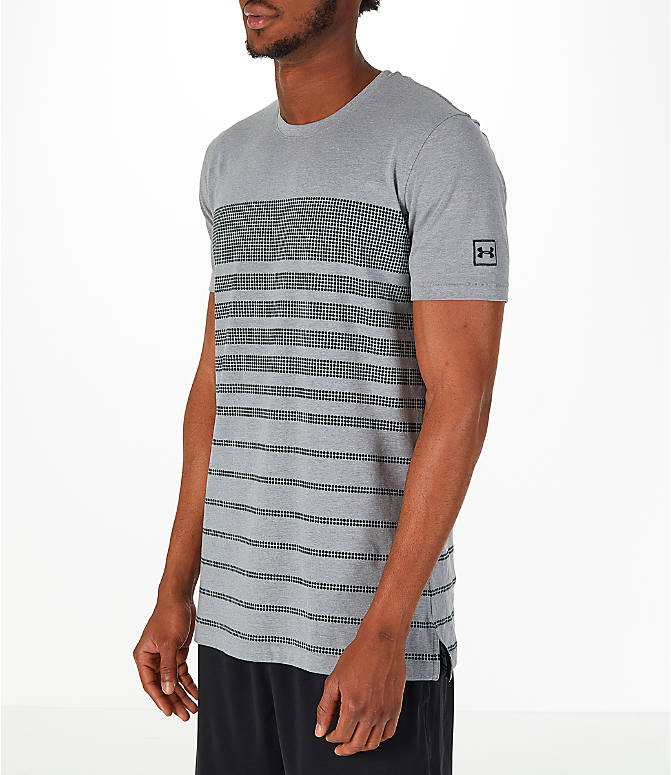 Front Three Quarter view of Men's Under Armour Sportstyle Stripe T-Shirt in Grey/Dark Grey