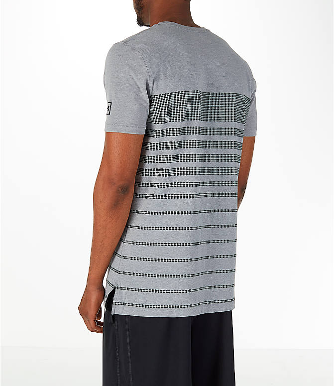 Back Left view of Men's Under Armour Sportstyle Stripe T-Shirt in Grey/Dark Grey